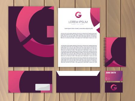 sobres para carta: Identidad corporativa creativo con el diseño del logotipo, letra G. Moderno concepto de negocio de papelería. Ilustración del vector.
