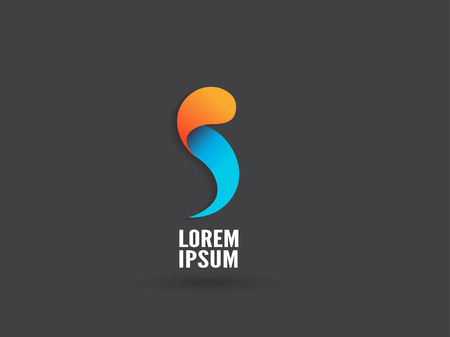 Abstract logo design, letter S. Trendy business concept logotype. Creative vector icon. Çizim