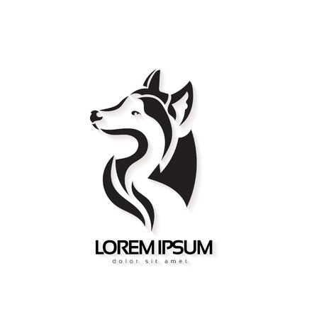 예술 벡터 실루엣 늑대. 양식에 일치시키는 아이디어 야생 동물 문신.