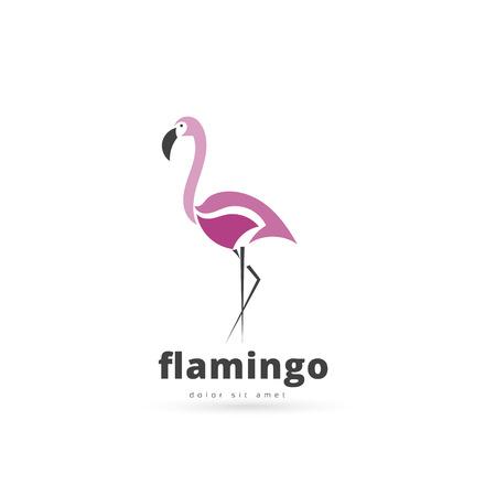 subtropics: Artistic stylized flamingo icon. Silhouette birds. Creative art logo design. Vector illustration.