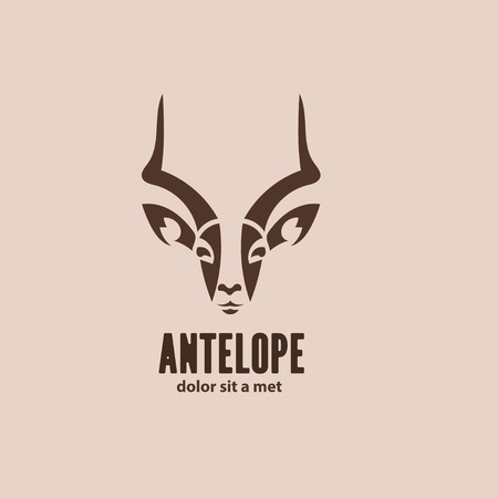 Artistic vector silhouette antelope. Stylized idea wild animal logo design template.