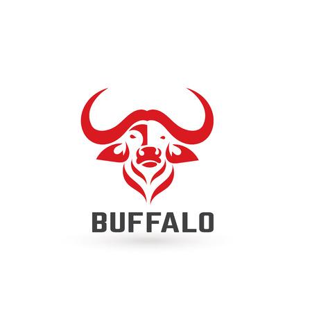 raging bull: Stylized silhouette of a buffalo. Artistic creative idea. Animals logo design template. Vector illustration.