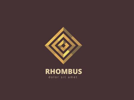 infinity symbol: Rhombus abstract metal design template. Business infinity symbol. Gold looped infinity shape. Vector illustration. Illustration