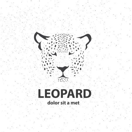 panthera: Black and white sketch of a leopards face. Artistic silhouette wild animal. Vector illustration. Illustration