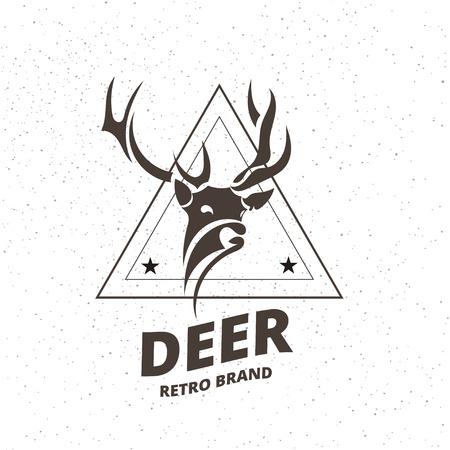 로고 타입, 레이블, 배지, 티셔츠 및 다른 디자인에 대 한 빈티지 스타일에서 사슴 요소를 양식에 일치시키는. 예술적 벡터 일러스트 레이 션. 일러스트