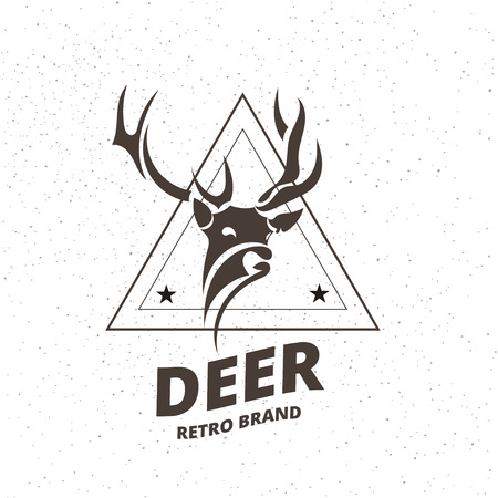 Stylized Deer Element in Vintage Style for Logotype, Label, Badge, T-shirts and other Design. Artistic Vector Illustration.