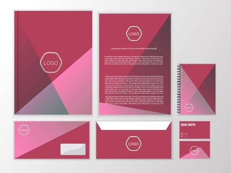 documentation: Polygonal minimalistic corporate identity. Stationery design template. Vector documentation for business.