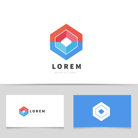 Abstract hexagon logo icon with business card template. Creative logotype for your company. Vector business element.
