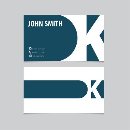 Business card template, letter K. Vector logo design. Illustration