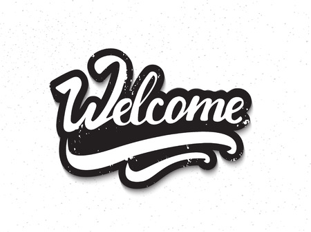 illsutration: Welcome hand lettering. Vector illsutration.