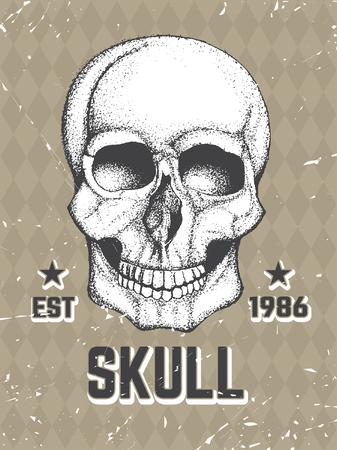 mercenary: Vector Hand Drawn human skull. Artistic graphic illustration. Illustration