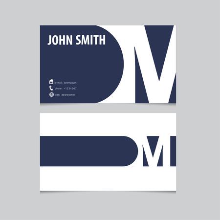 Business card template, letter M. Vector logo design. Illustration