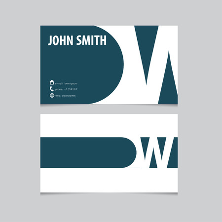 Business card template, letter W. Vector logo design.