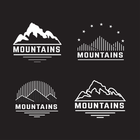 Vector set of mountain icons.