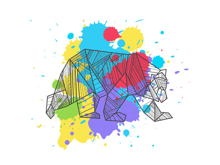 Artistic bear on the colorful blots background. Stylized graphic illustration. Vector wild animal. Иллюстрация