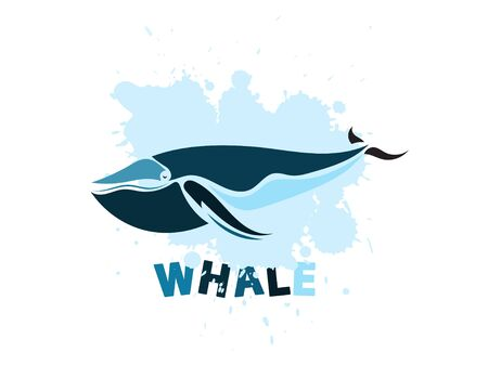 dirty t shirt: Artistic whale icon on the colorful blots background. Stylized graphic illustration. Vector wild animal. Illustration