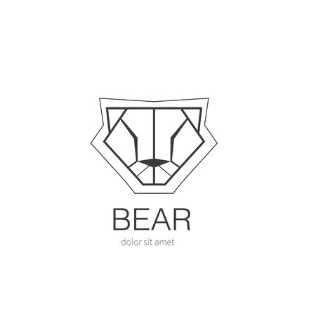 animal heads: Bear logo design template. Stylized icon wild animal. Vector illustration.