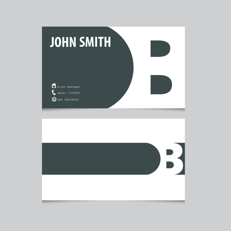 b: Business card template, letter B. Vector logo design.