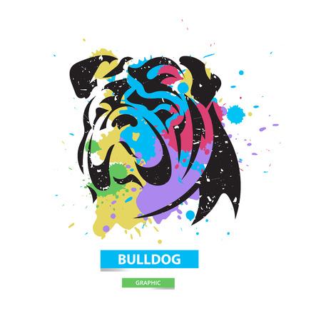 Bulldog artístico en la manchas de colores de fondo. Ilustración gráfica estilizada. Vector animal salvaje.