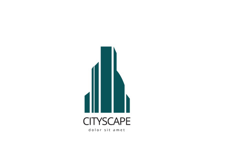 accounting logo: Abstract building logo design template. Creative cityscape logotype for your company. Illustration