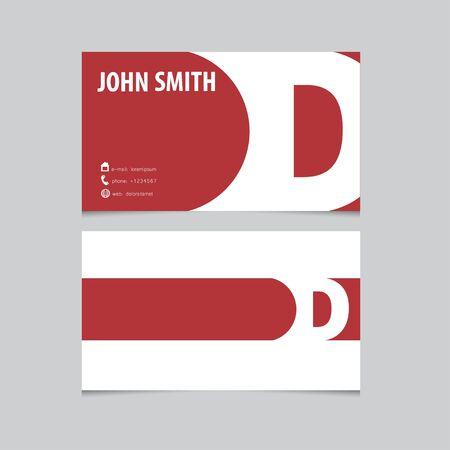 a d: Business card template, letter D. Vector logo design.
