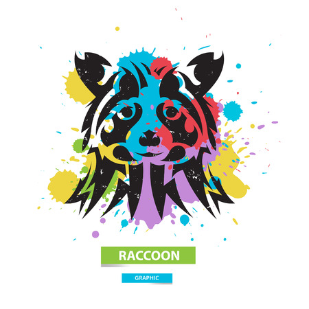 blots: Artistic raccoon on the colorful blots background. Stylized graphic illustration. Vector wild animal.
