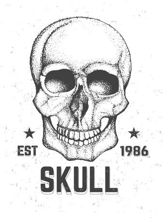 mercenary: Hand Drawn Human Skull. Artistic Graphic Concept. Vector Illustration. Illustration