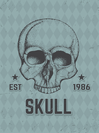 gangsta: Hand Drawn Human Skull. Vector Artistic Vintage Illustration. Illustration