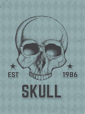 mercenary: Hand Drawn Human Skull. Vector Artistic Vintage Illustration. Illustration