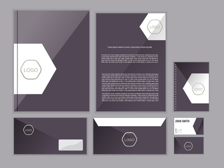 Purple classic corporate identity design template. Vector business stationery. Фото со стока - 45333257
