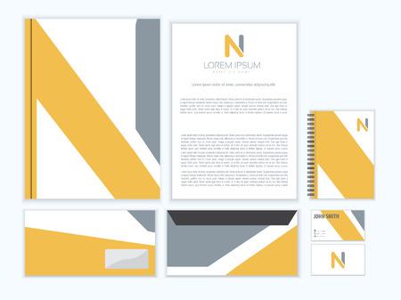 Corporate identity creativo con disegno, lettera N. Archivio Fotografico - 45333258