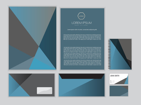 Classic corporate identity design template. Vector business stationery. Çizim