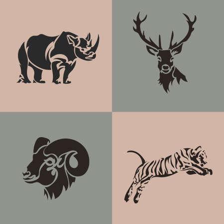 Animal  collection. Deer, ram, tiger, rhino vector emblem. Set wild animals. Vector illustration