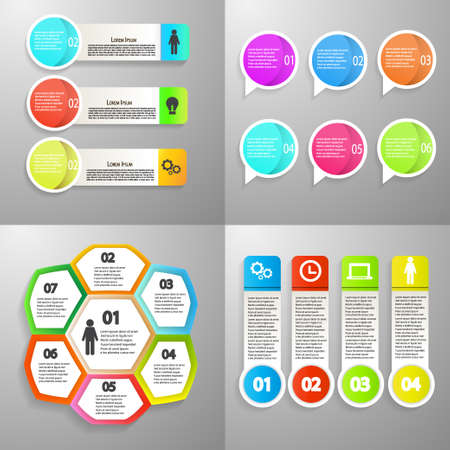 Collection of Infographic icon vector design template for presentation. Can be used for steps, options, business processes, workflow, diagram, flowchart concept, timeline, marketing icons. Vector illustration