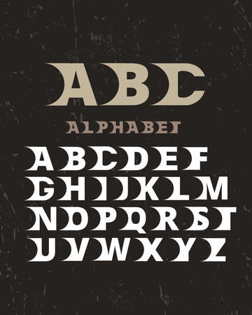 Vector of stylized retro font and alphabet. Vintage vector font for labels