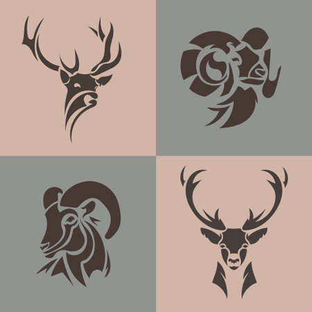 Animal  collection. Deer, ram, goat vector emblem. Set wild animals. Vector illustration Иллюстрация