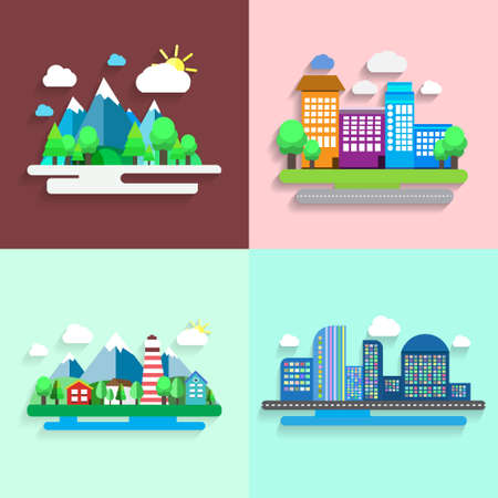 Vector flat design, nature landscape illustrations. Vector illustration Illustration