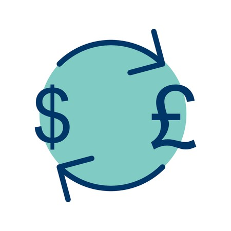 Exchange Pound With Dollar Vector Icon Sign Icon Vector Illustration For Personal And Commercial Use...Clean Look Trendy Icon...