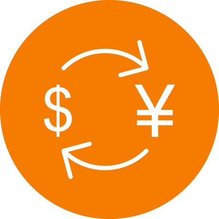 Exchange yen With Dollar Vector Icon Sign Icon Vector Illustration For Personal And Commercial Use...Clean Look Trendy Icon...