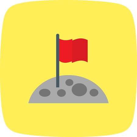 Flag At Moon Vector Icon Sign Icon Vector Illustration For Personal And Commercial Use...Clean Look Trendy Icon... Иллюстрация