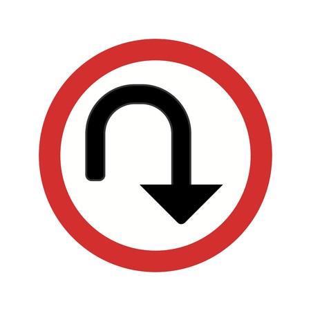 Vector icono de giro en U icono de signo ilustración vectorial para uso personal y comercial ... Icono de moda mirada limpia ...
