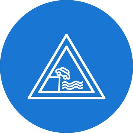 Vector Road leads on to quay or river bank Icon Sign Icon Vector Illustration For Personal And Commercial Use... Clean Look Trendy Icon...