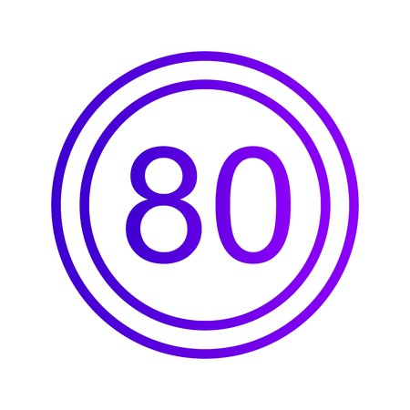 Vector Speed limit 80 Icon Sign Icon Vector Illustration For Personal And Commercial Use...