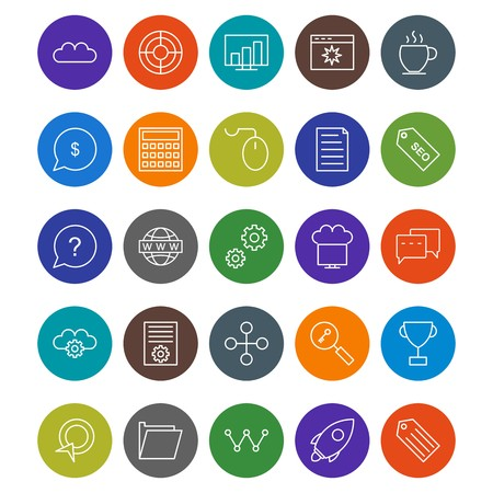 SEO Optimization And Marketing Vector Icons Set