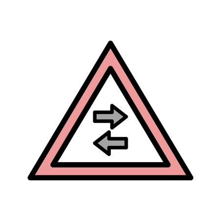Vector Two-way traffic crosses one-way Road Sign Icon 