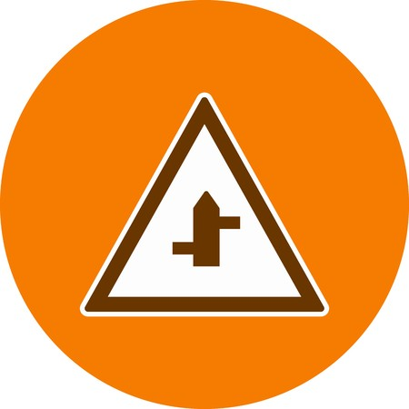 Vector Minor Cross Roads From Right To Left Road Sign Icon Иллюстрация