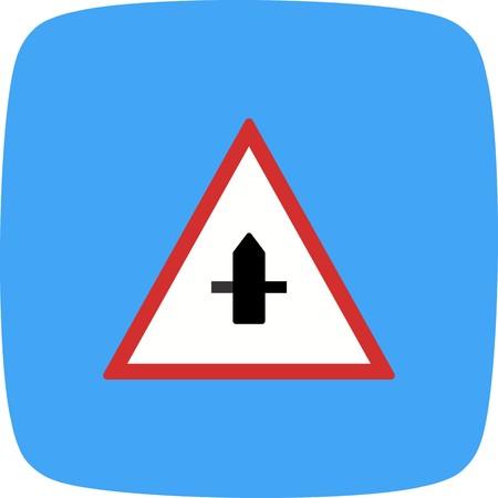 Vector Minor Cross Road Sign Icon Иллюстрация
