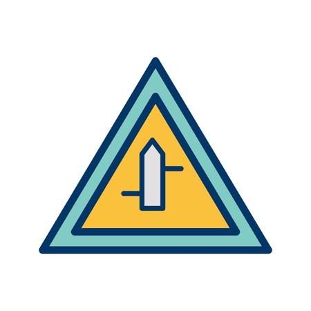Vector Minor Cross Roads From Right To Left Road Sign Icon 向量圖像