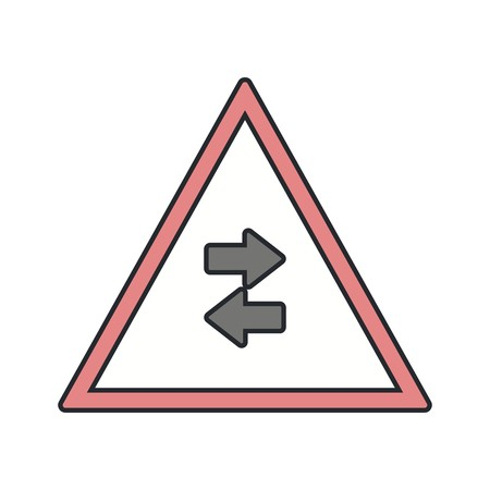 Vector Two-way traffic crosses one-way Road Sign Icon Ilustrace