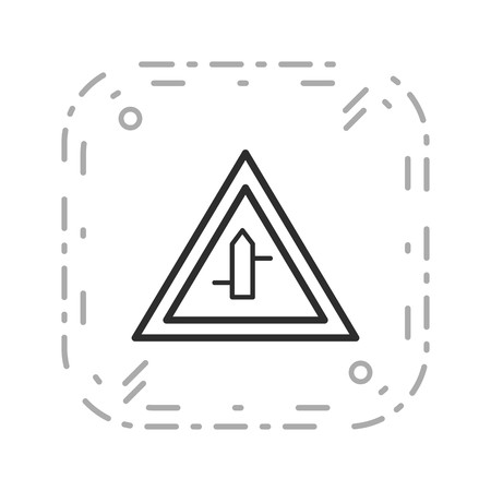 Vector Minor Cross Roads From Right To Left Road Sign Icon  イラスト・ベクター素材